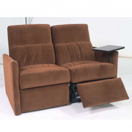 """Qualitex Monaco RV Loveseat Recliner in Fabric 52"""" Inch Width with Tray Table TLRV5036"""