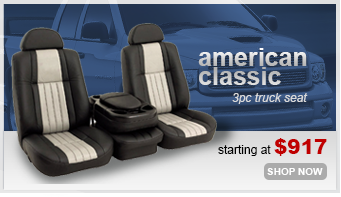 American Classic High Back Truck Seats with a Center Console in Black Leather
